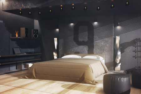 Creative male grungy gangster bedroom interior with furniture and daylight. Living concept. 3D Rendering