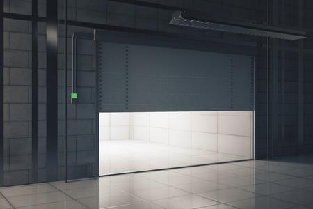 조명 된 오프닝 차고 문을 가진 현대 타일 인테리어의 측면보기. 모의 3D 렌더링 스톡 콘텐츠