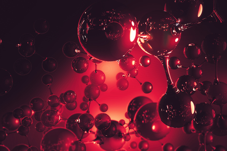Abstract red connected glass bubbles molecule backdrop. Abstraction, creativity concept. 3D Rendering