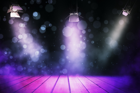 Abstract stage illuminated with spotlights. Presentation concept. 3D Rendering