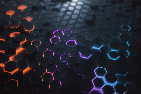 Futuristic glowing colorful bright hexagonal or honeycomb wallpaper. Technology, future and innovation concept. 3D Rendering