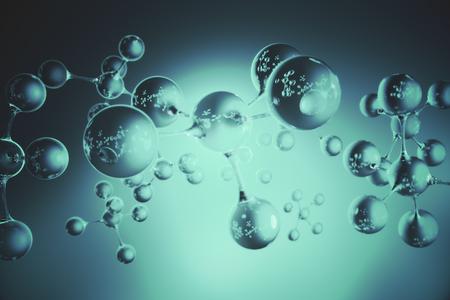 抽象の青い接続されたガラスは泡分子の壁紙です。抽象化、創造性の概念です。3 D レンダリング