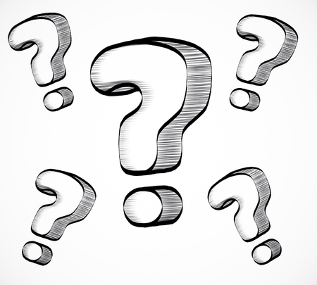 Drawn question marks on white background. Confusion concept