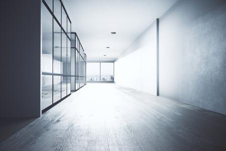 밝은 사무실 복도 인테리어 장비, 도시보기 및 일광. 3D 렌더링