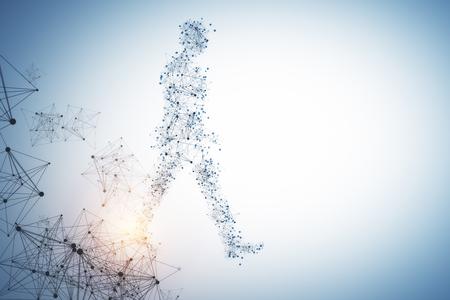 Zijaanzicht van de abstracte lopende veelhoekige man op blauwe achtergrond met kopie ruimte. Technologie concept. 3D-weergave