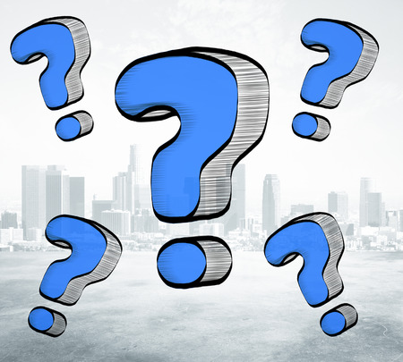 Drawn blue question marks on city background. Ask concept Stock Photo