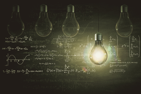 Glowing lamp and mathematical formulas on chalkboard. Science concept. 3D Rendering Stock Photo