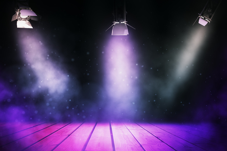 Abstract stage illuminated with spotlights. Show concept. 3D Rendering