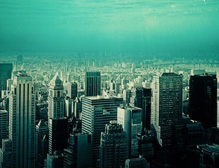 抽象的な横都市と空の背景。都市のコンセプト 写真素材