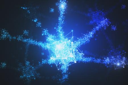 創造的な多角形の星の背景。技術とイノベーションの概念。3 D レンダリング