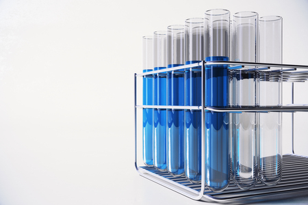 Blue laboratory glassware on light backdrop. Chemistry, medicine and innovation concept. 3D Rendering