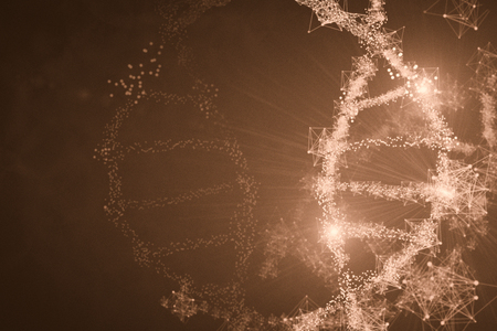 Abstract glowing polygonal DNA molecule wallpaper with copy space. Medicine concept. 3D Rendering