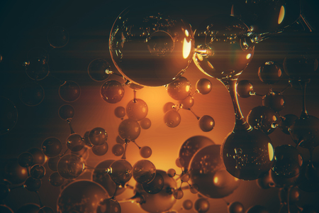 Abstract amber connected glass bubbles molecule wallpaper. Abstraction, creativity concept. 3D Rendering