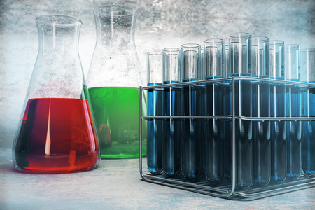Colorful laboratory glassware on concrete texture. Scientific research, medicine, flask tubes. 3D Rendering