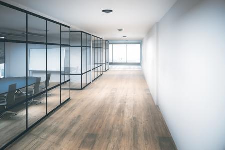 現代的なオフィス廊下インテリア機器、シティビューと日光。3 D レンダリング