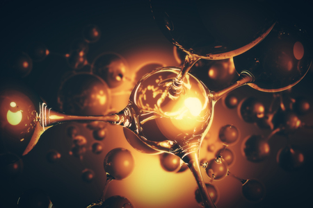 Abstract amber connected glass bubbles molecule backdrop. Abstraction, creativity concept. 3D Rendering Фото со стока