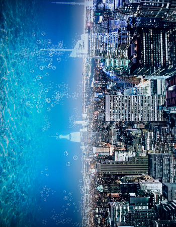Abstract sideways city and water, ocean, sea background with copy space. Creativity, abstraction and innovation concept Stock Photo