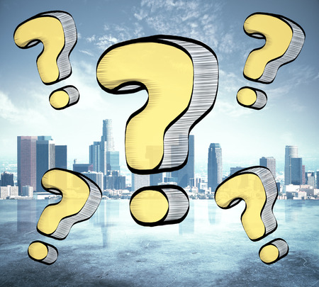 Drawn yellow question marks on city background. FAQ concept
