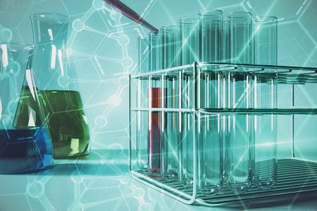 クリエイティブラボ青いガラス フラスコ チューブや DNA 分子投影壁紙を抽象化します。未来研究のコンセプトです。3 D レンダリング 写真素材