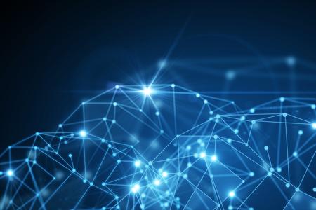 추상 빛나는 파란색 다각형 배경. 기술, 혁신 및 미래의 개념입니다. 3D 렌더링