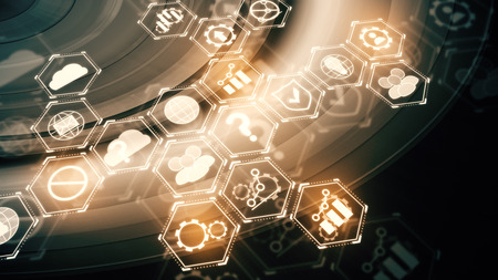Abstracte digitale bedrijfsprojectie op technologieachtergrond. Cloud computing-concept. 3D-weergave