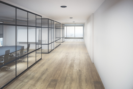 Creative office hallway interior with equipment, city view and daylight. 3D Rendering
