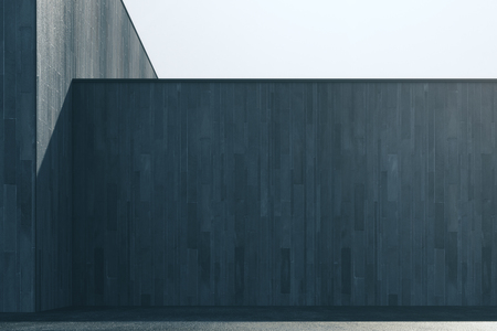 Empty abstract dark wood exterior wall with sunlight and copy space. Mock up, 3D Rendering