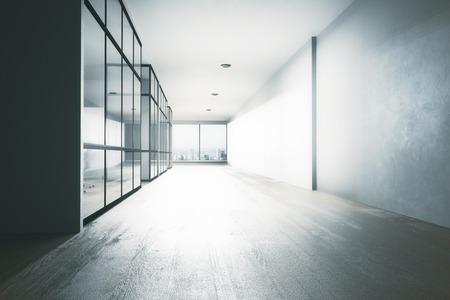 장비, 도시보기 및 일광과 사무실 복도 인테리어를 청소하십시오. 3D 렌더링 스톡 콘텐츠