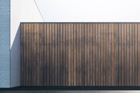 Lege abstracte bruine houten buitenmuur met zonlicht en exemplaarruimte. Bespotten, 3D-rendering