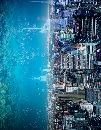Abstract sideways city and water, ocean, sea backdrop with copy space. Creativity, abstraction and innovation concept
