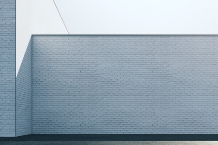 Empty abstract white brick exterior wall with sunlight and copy space. Mock up, 3D Rendering Stock Photo