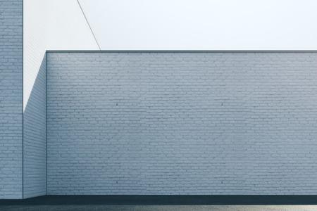 Lege abstracte witte baksteen buitenmuur met zonlicht en exemplaarruimte. Bespotten, 3D-rendering