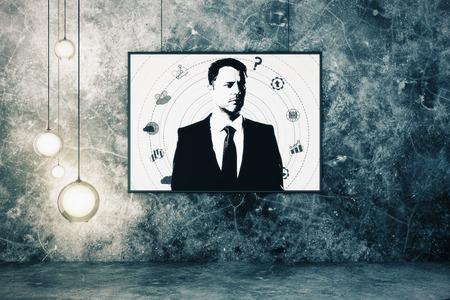 グランジインテリアの抽象的な男性の肖像画。クリエイティブコンセプト。3D レンダリング 写真素材