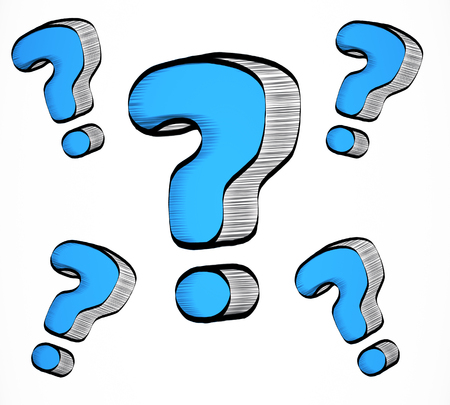 Drawn blue question marks on white background. Enquiry concept