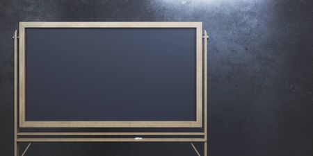 Empty chalkboard on concrete wall background. Knowledge concept. Mock up, 3D Rendering