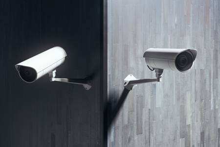 CCTV cameras on tile building exterior with copy space. Protection concept. 3D Rendering