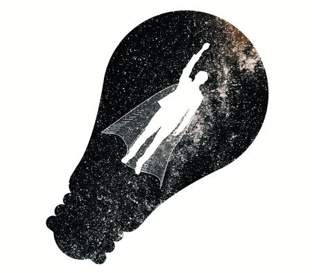Abstract beeld van vliegende manheld met kaap en gloeilampensilhouet op witte ruimteachtergrond. Leider concept Stockfoto
