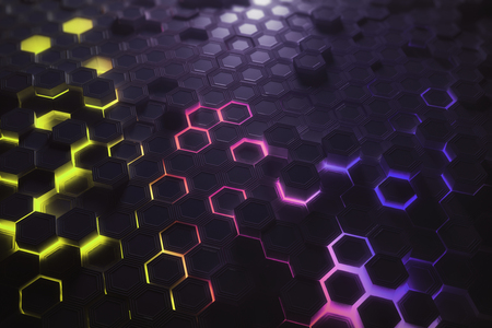 미래의 빛나는 화려한 밝은 육각형 또는 벌집 질감. 기술, 미래 및 혁신 개념입니다. 3D 렌더링