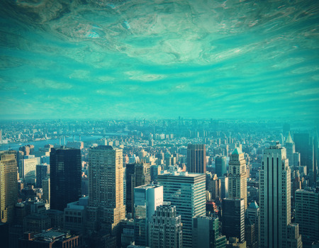 Abstract city and water, ocean, sea background with copy space. Creativity, abstraction and innovation concept