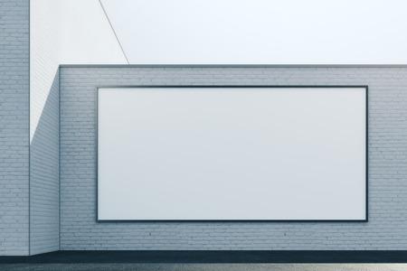 빈 흰색 패널 추상 벽돌 외관의 전면 뷰. 광고, 상거래, 소매 및 간판 개념. 모의 3D 렌더링