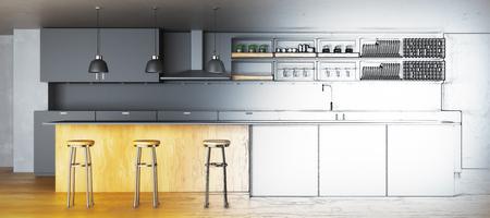 Onvolledig keukenproject. Architectuur concept. 3D-weergave
