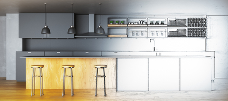 Unfinished kitchen project. Architecture concept. 3D Rendering