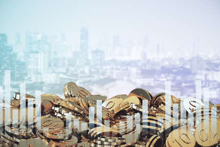 Abstract golden coin piles on city background with forex chart. Finance concept. Double exposure