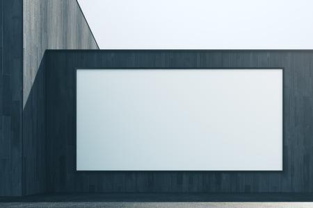 빈 흰색 배너와 추상 어두운 나무 외관의 전면 뷰. 광고, 상거래, 소매 및 간판 개념. 모의 3D 렌더링