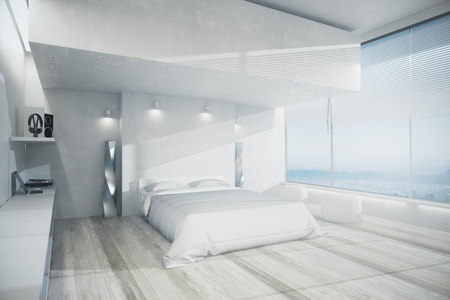 Luxury bedroom interior with white furniture, wooden floor and panoramic view. Design concept. 3D Rendering