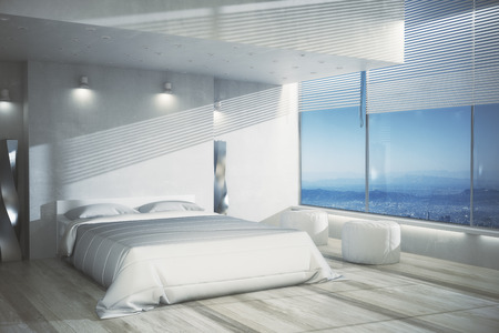 Clean bedroom interior with white furniture, wooden floor and panoramic view. Design concept. 3D Rendering