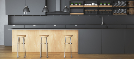 Contemporary dark kitchen interior with furniture and equipment. 3D Rendering