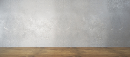 Intérieur de la chambre avec mur de béton blanc et plancher en bois. Annonce, galerie, concept d'exposition. Maquette, rendu 3D Banque d'images