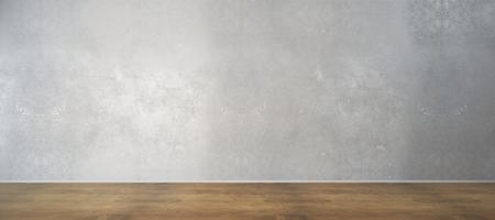 Intérieur de la chambre avec mur de béton blanc et plancher en bois. Annonce, galerie, concept d'exposition. Maquette, rendu 3D Banque d'images - 85037505