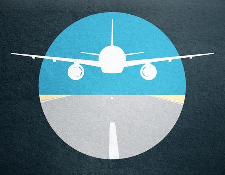 Creative taking off airplane image on dark background